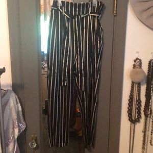 Gold and black striped paper bag waist tie pants